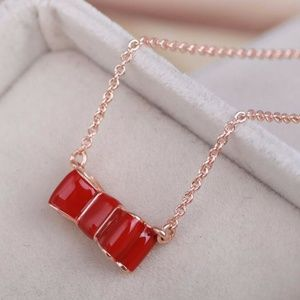 Kate Spade Necklace Take A Bow Gold Red  New
